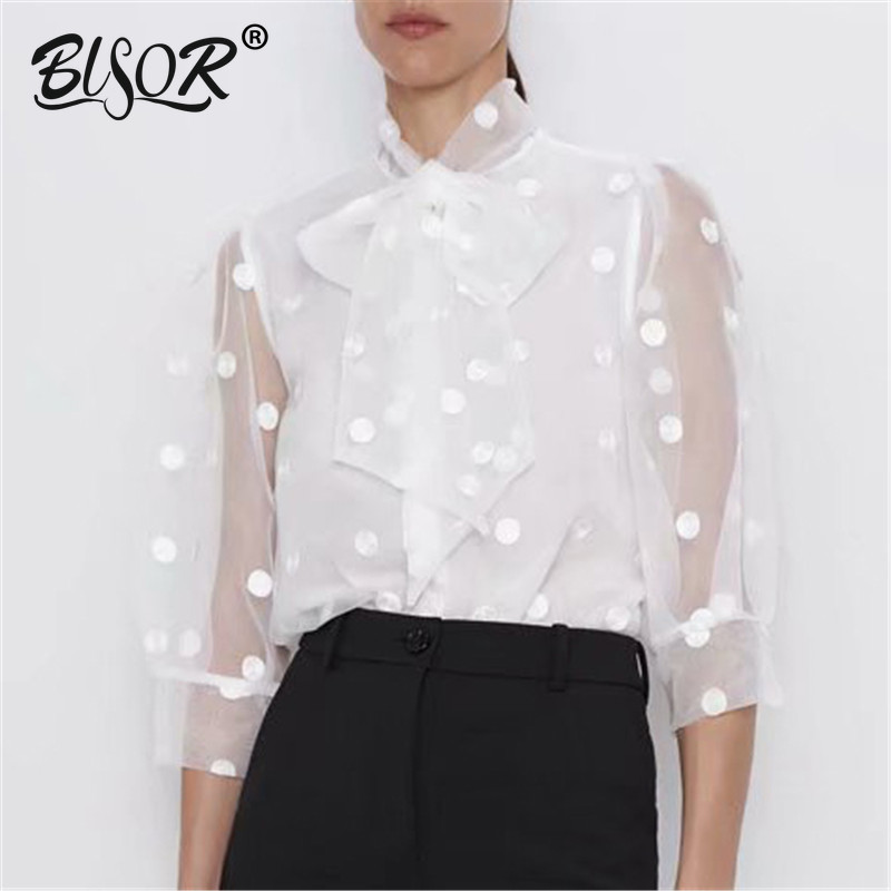 Women Elegant Bow Collar Polka Dot Embroidery Blouse Women Chic Perspective White Chemise Shirt Three Quarter Sleeve Tops