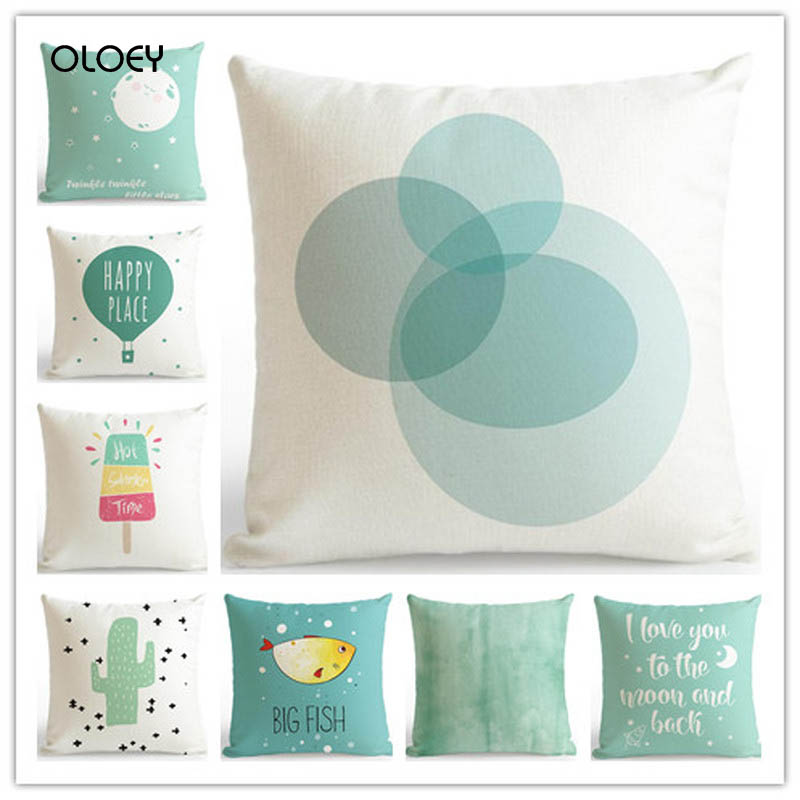 Home Bedroom Hotel Bed And Car Seat Trim With Simple Polyester Soft Pillowcase Print And Fresh Mint Green Pillowcase 45x45cm  ..