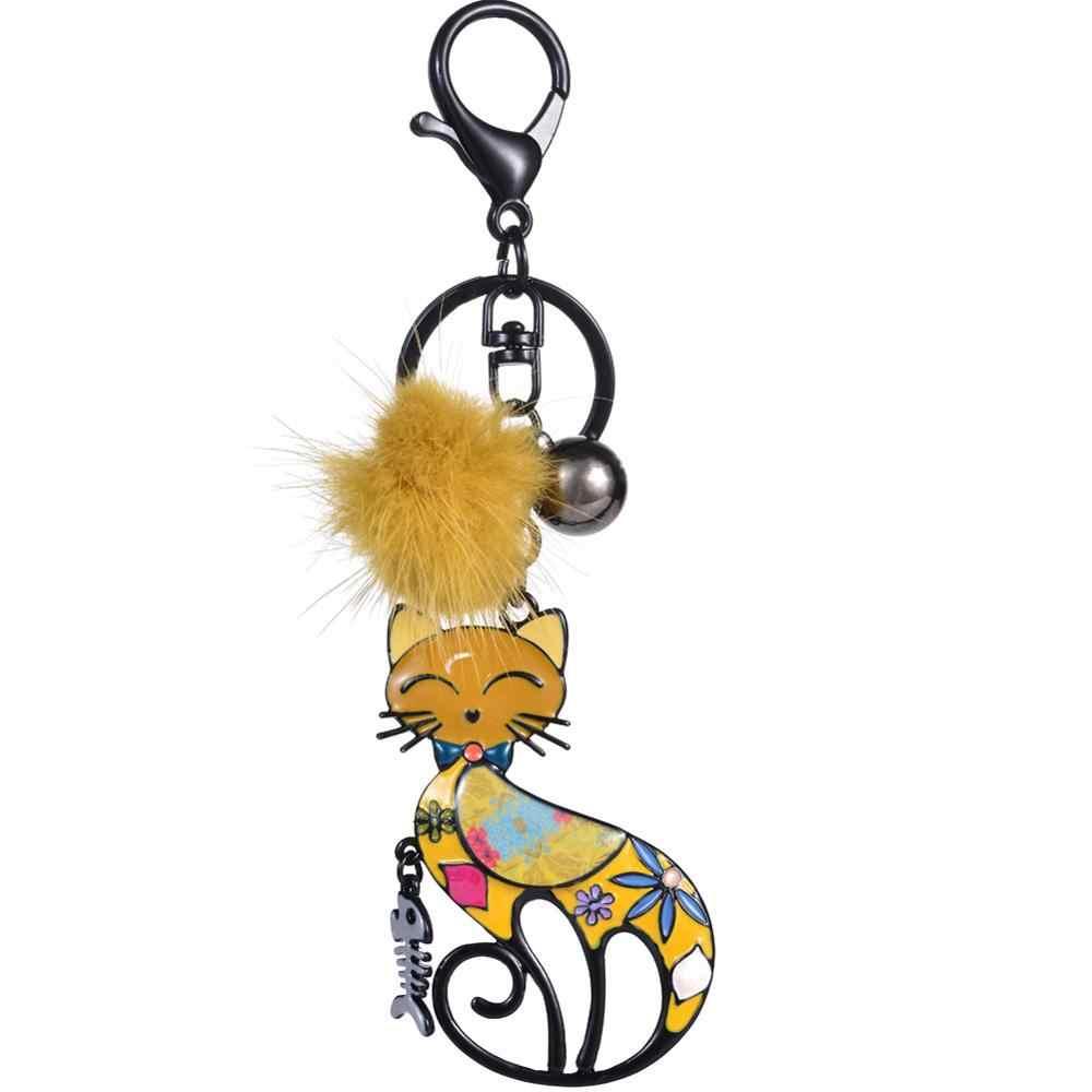 Cring Coco Encantos Pompom Gato Chave Anéis Da Cadeia para Homens Mulheres Meninas Popular Bijuterias Pingentes Keychain Carro Sacos de Espinha de Peixe chaveiros