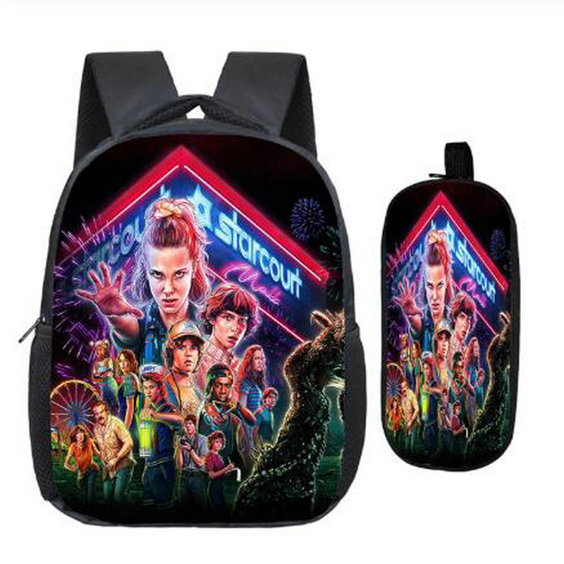 Stranger Things 3 Backpack Children Kids Bags Printing Pattern Backpack Beautiful Casual Rucksack With School Pencil Case