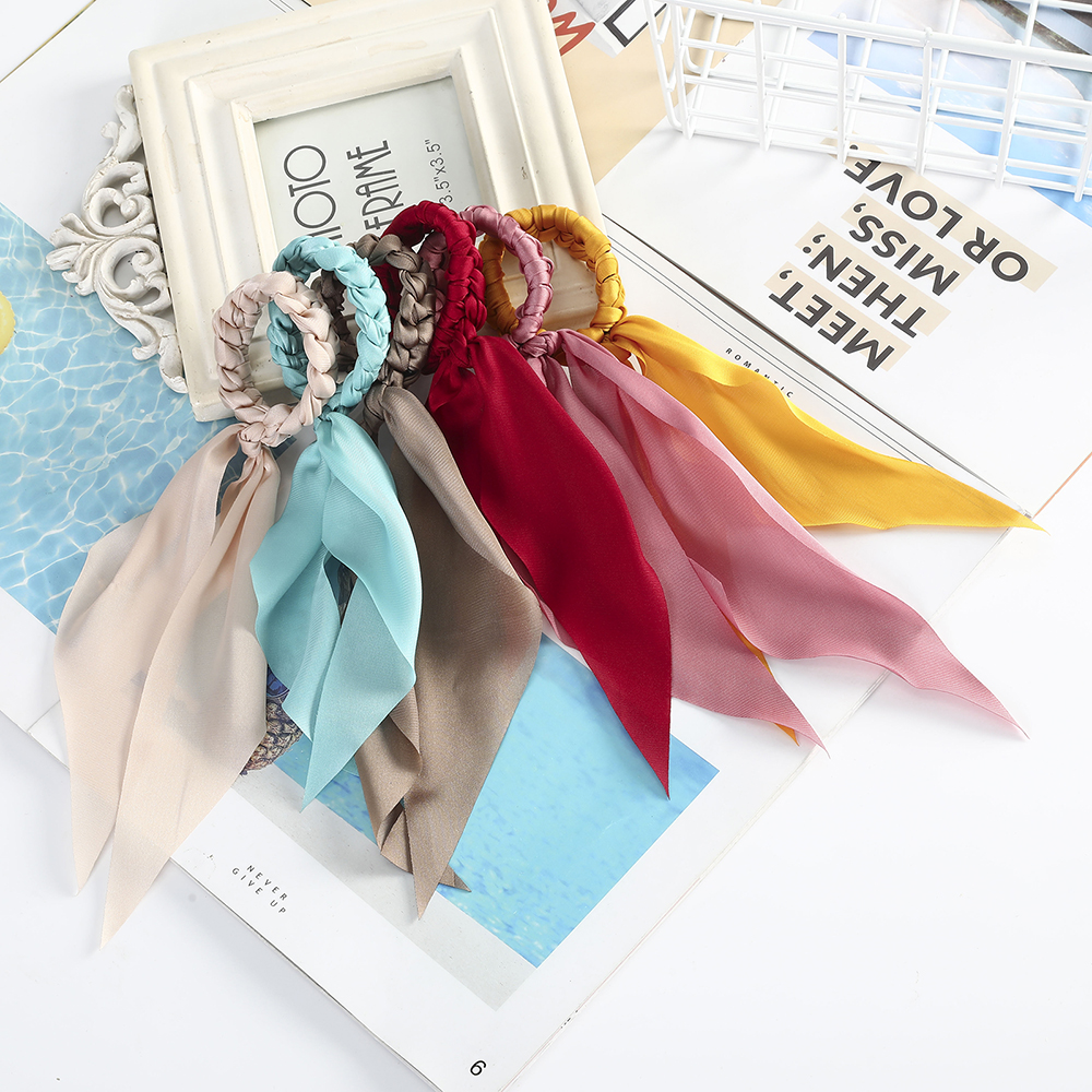 Haimeikang Women Solid Color Hair Ropes Scrunchies Girls Ponytail Holder Hair Tie Hair Rubber Fashion Elastic Hair Accessories
