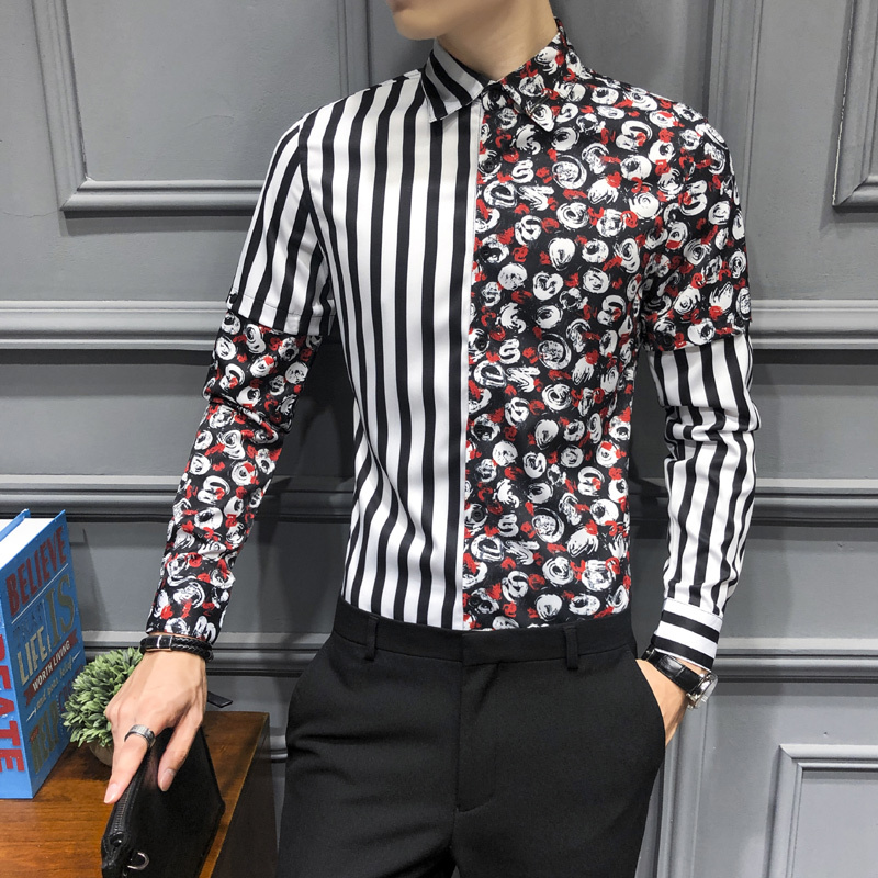 Autumn Mens Floral Print Splice Shirts Mens Flowers Shirts Slim Fit Dress Shirts For Mens Fashion Casual Camisa Floral Masculina
