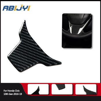 1piece Car Styling Carbon Fiber Inner Steering Wheel Panel Trim For Honda Civic 10th Gen 2016-2019 Car Accessories image