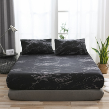 Marble Pattern Sheet Set Mattress Protective Case Fitted Sheet Cover Single Double Queen Size Bedclothes Pillowcase