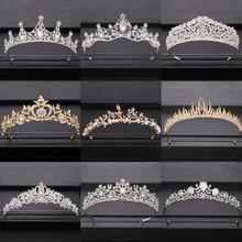 Трендовая свадебная корона для невесты, головной убор золотого и серебряного цвета в стиле барокко, хрустальные диадемы и короны, свадебная тиара, аксессуары для волос