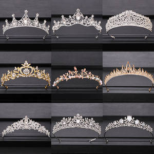 Wedding-Crown Tiaras Hair-Accessories Bridal Headpiece Gold Silver Baroque Crystal