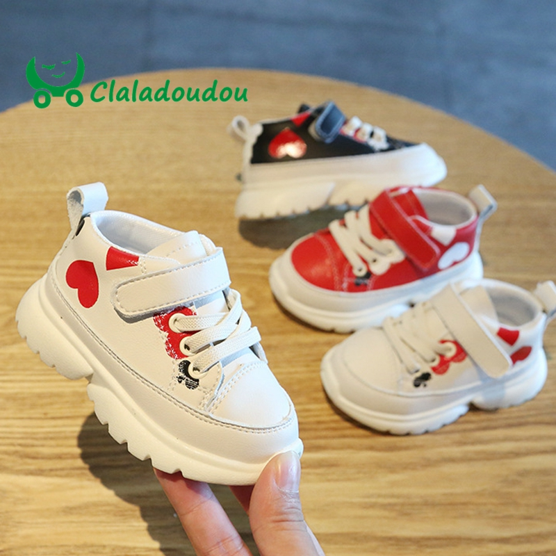 Claladoudou 12-14cm Brand Baby Girls Boys First Walkers Beige Black Red Hot Heart Fashion Soft Toddler Casual Shoes For 1-3Years