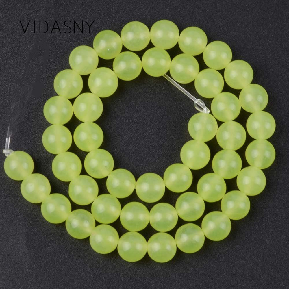 Natural Olive Green Jades Round Stone Beads For Needlework Jewelry Making 4 6 8 10 12mm Spacer Beads Diy Bracelet Necklace 15 39 39 in Beads from Jewelry amp Accessories