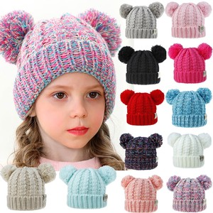 2020 Winter Cap with ears Girls Boys Child's hat Keep Warm Winter Casual Knitted Hat Wool Hairball Ski Hat pompom on a hat sombr(China)