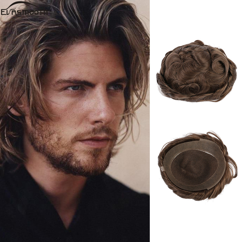 2020 Hot Sale Male Wig Natural Human Hair Hairpieces Wig Male Hair Prosthesis Hair Mixing System Men Toupee Comfortable Mens Wig