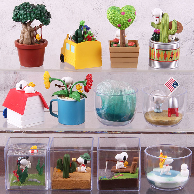Image 4 - Anime Cartoon Woodstock Happy Terrarium Peanuts Camping Snorkeling Dog PVC Action Figure Collectible Model Toy for Kid 6pcs/setAction & Toy Figures   -