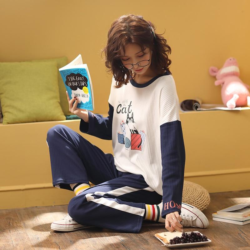 Sweet Girl's Pyjamas Two-piece Set Long Sleeve Round Collar Printing Polyester College Windprint Home Wear Set Warm Pajamas 39