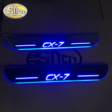 LED moving light scuff pedal for Mazda CX-7 CX7 2014-2018 Acrylic Led Door Sill Welcome Pedal Trim Cover Scuff Plates threshold цена и фото