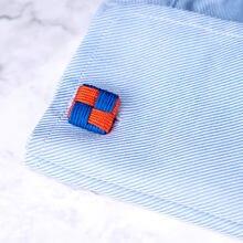 Стильные шелковые запонки с узлами квадратная форма ручная работа
