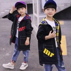 Пальто для мальчиков весенняя одежда 2019 г., новый стиль, весенне-осенний Тренч в Корейском стиле для больших мальчиков Весенняя Повседневна...