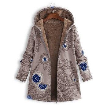 2020 Womens Winter Warm Retro Print Coat Hooded Pockets Vintage Oversize Jacket For Ladies Fashion Female Mujer Chaqueta #3 10