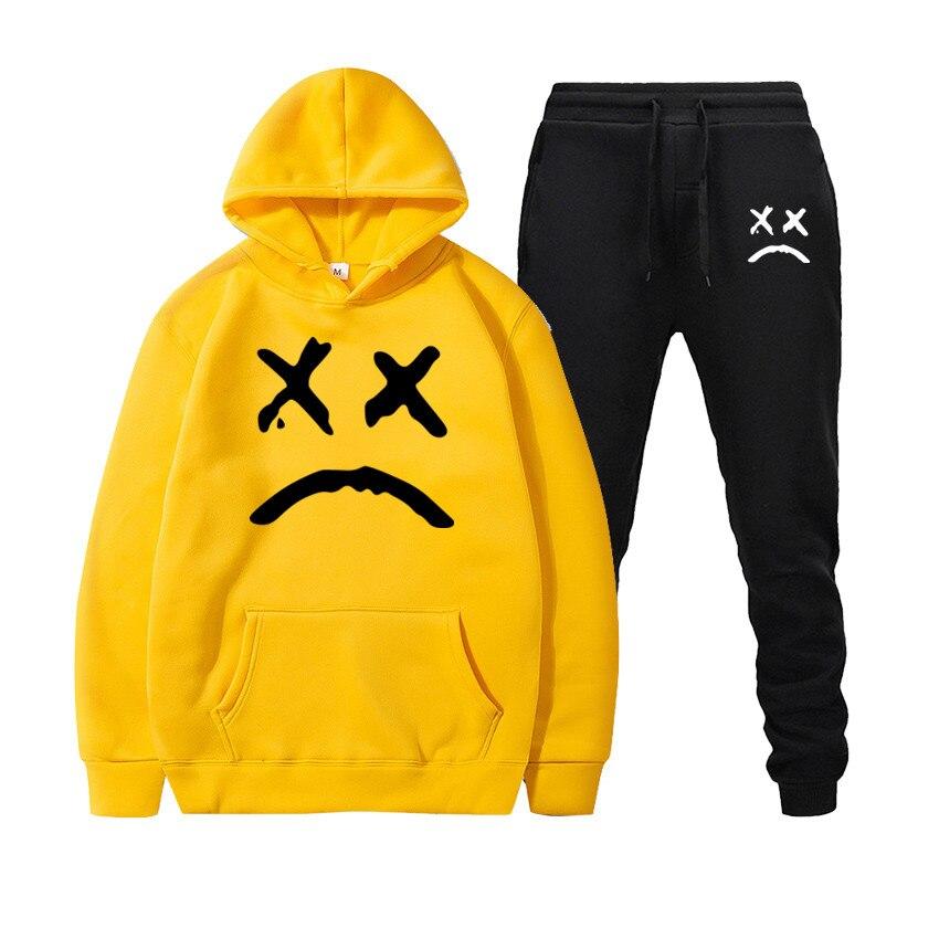 New Fashion Hoodie 2020 Mens Sports Funny Cute Sweatshirt + Sports Pants Set Casual Long Sleeve Thick Hoodie Clothing SetMens Sets   -