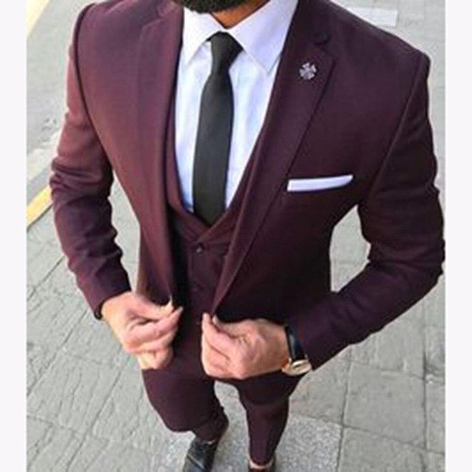 New Classic Men's Suit Smolking Noivo Terno Slim Fit Easculino Evening Suits For Men Burgundy Groom Tuxedo Blazer Terno Masculin