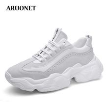 цены ARUONET Men's Casual Shoes Designer Quality Leather Sport Comfortable Sneakers Men Lace Up Platform Shoes Scarpe Uomo Pelle
