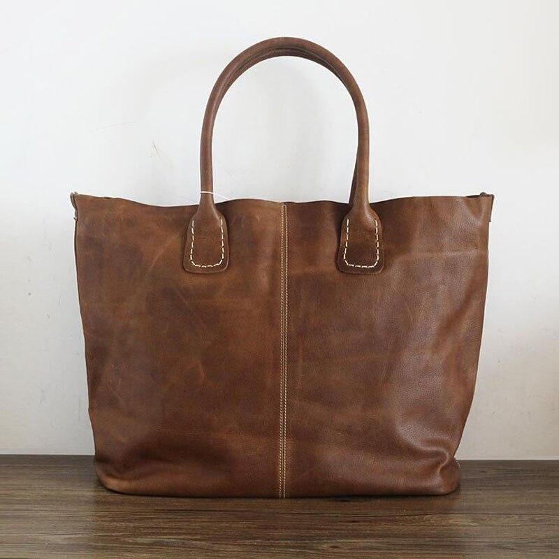 Natürliche Rindsleder Handtaschen Frauen Vintage Schulter Tasche Aus Echtem Leder Top Qualität Dame Casual Einkaufstaschen Große Tote Bolsos-in Schultertaschen aus Gepäck & Taschen bei  Gruppe 1
