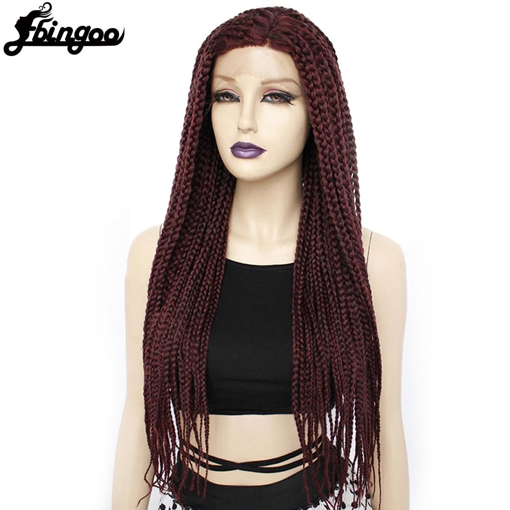 【Ebingoo】Long Burgundy Glueless Box Braided Synthetic Lace Front Wigs Twist Braids Futura Wig for Afro Black Women Daily Wear