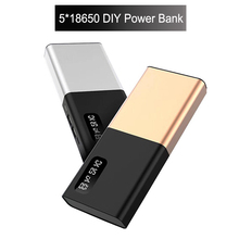 Diy 5*18650 Battery Power bank Holder Case Dual USB Ports LED Light Power Bank Diy Kit Charger Box for Iphone yoobao t1 10200mah dual usb power bank w 3 led indicators white