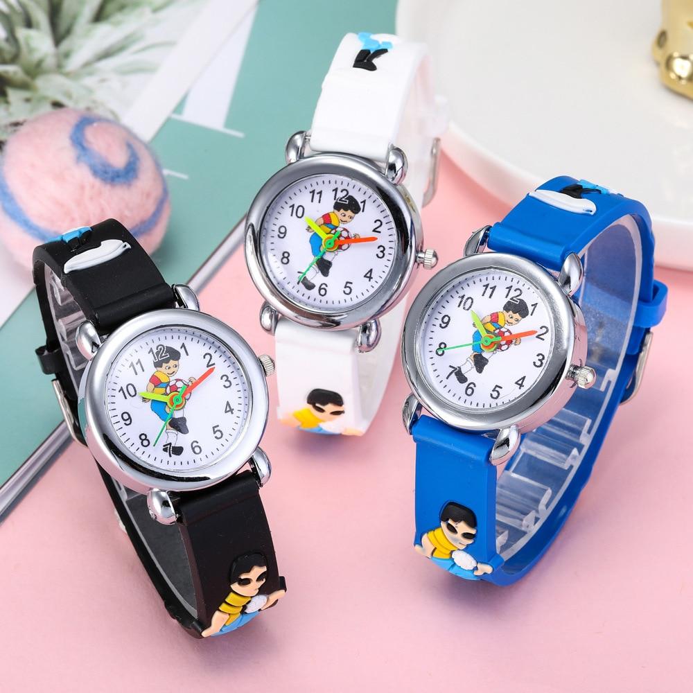 Cartoon Man Playing Football Children's Quartz Watch 4 Colors Children Lovely Dial Clock Boys Watches Kids Girls Baby Gift Clock