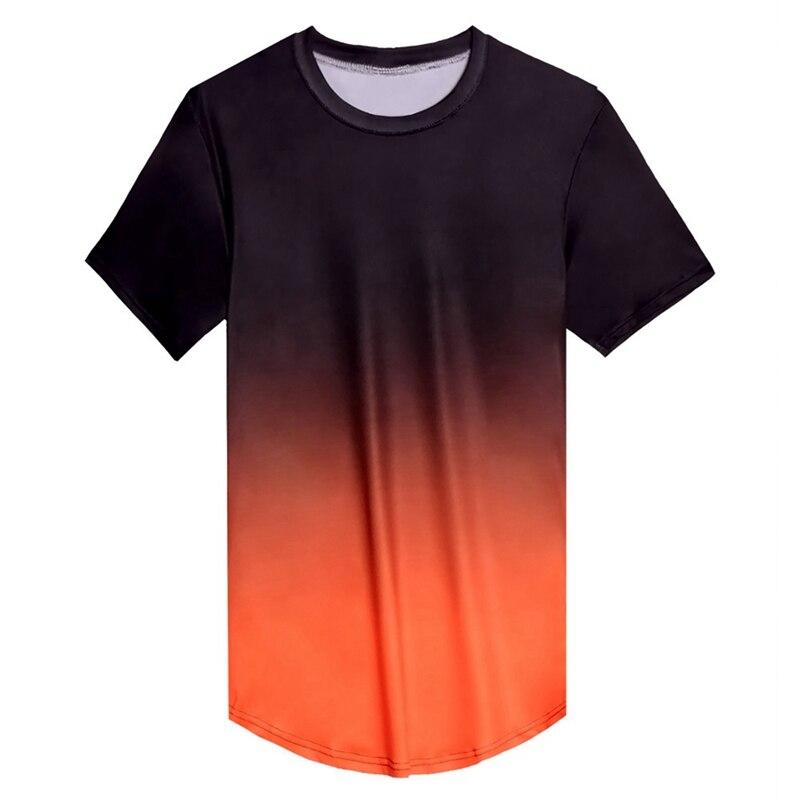 Футболка с коротким рукавом и круглым вырезом, градиентный цвет, свободная футболка из микрофибры, Верхняя Нижняя рубашка, одежда - Цвет: B