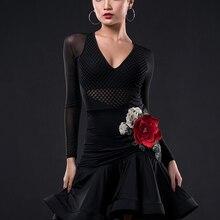 Одежда для занятий латинскими танцами Женская одежда для профессионального представления для взрослых новая юбка для латинских танцев платье set-A3199