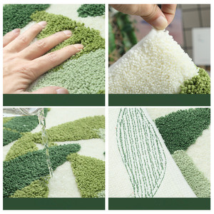 Image 4 - Honlaker緑の葉植毛マットスリップ吸収性マイクロファイバー浴室の敷物ホーム玄関ドアマットスーパーソフトバスカーペット