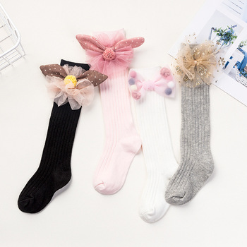 Baby in tube Socks Cotton 1-5-10 years old Spring and Autumn Children's Summer socks Baby Socks Girls Bow Stockings image