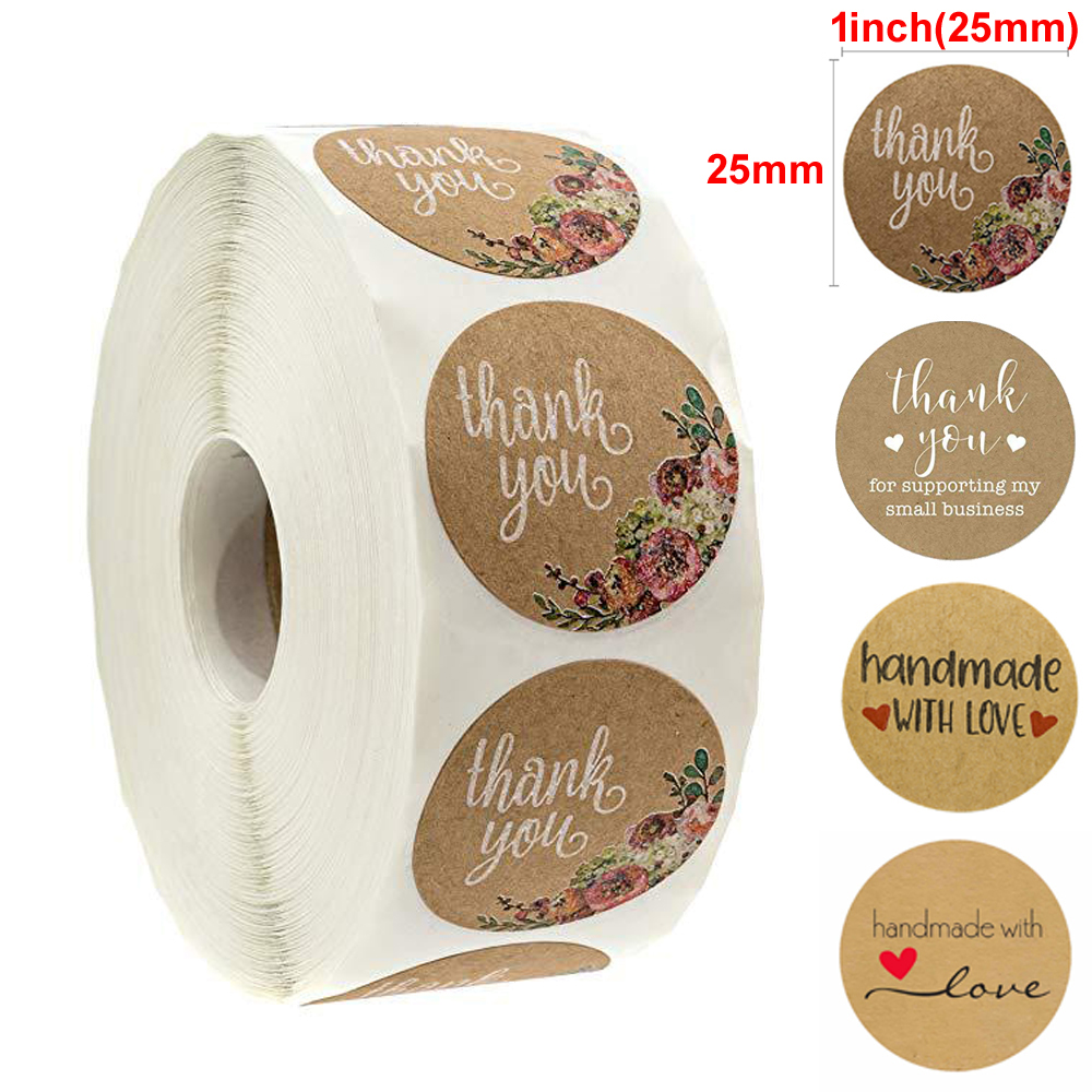 1inch Round Roll Sticker Floral Thank You Sticker Seal Tag 500 Pcs / Roll Cake Packaging Seal Labels Gift Tag Handmade Sticker