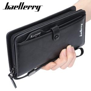 Baellerry, высокое качество, мужские кошельки, искусственная кожа, мужской длинный клатч, кошелек для монет, карман на молнии, мужские кошельки, д...