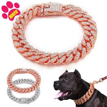 Pink Diamond Stainless Steel Blinggy Pet Collar  1