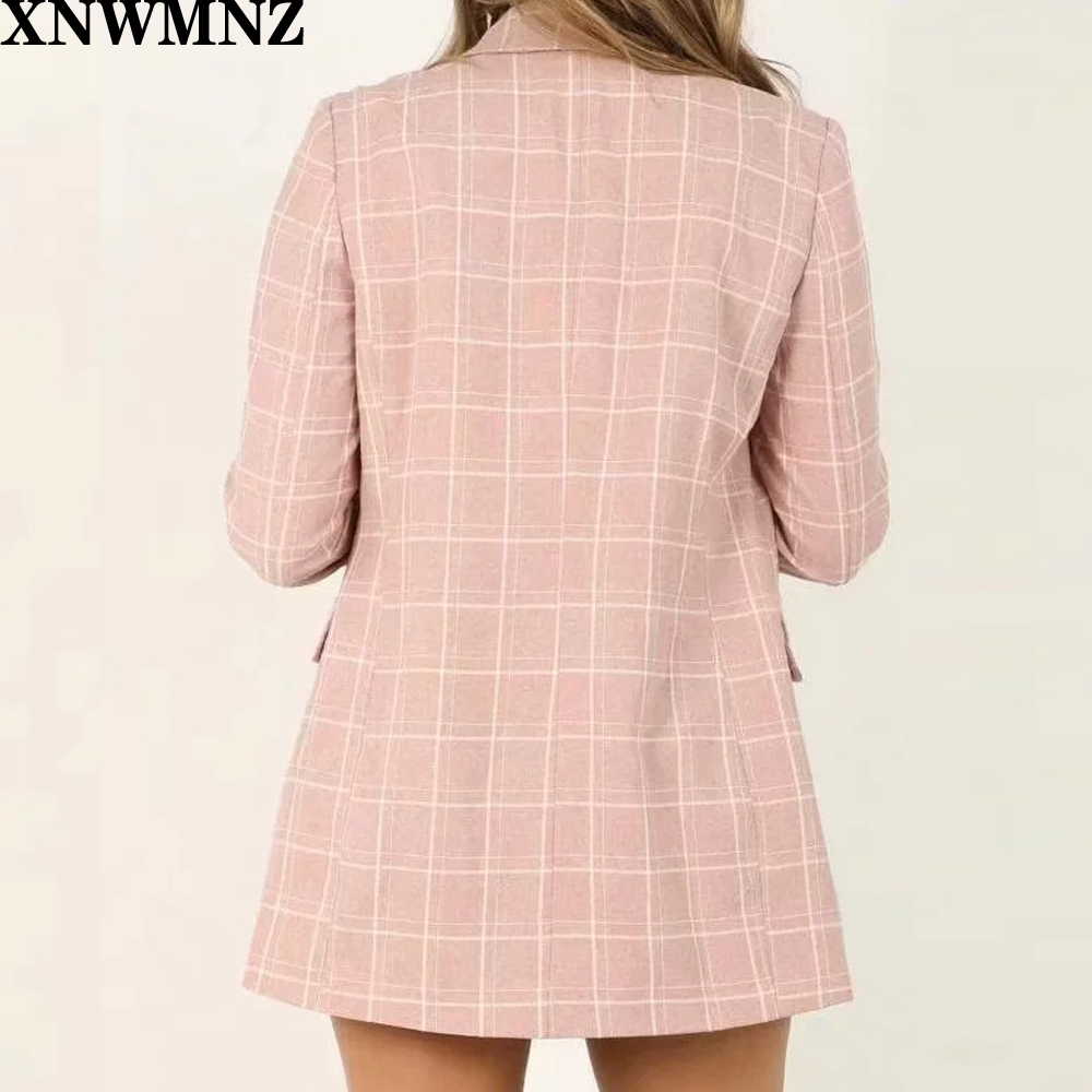 Za Vintage Double Breasted Plaid Women Blazer Pockets Jackets Female Retro Suits Coat Feminino blazers Outerwear high quality