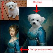 Estilo europeu material de lona bonito animais bonitos vestindo roupas cena pode ser personalizado fundo cartaz sala estar
