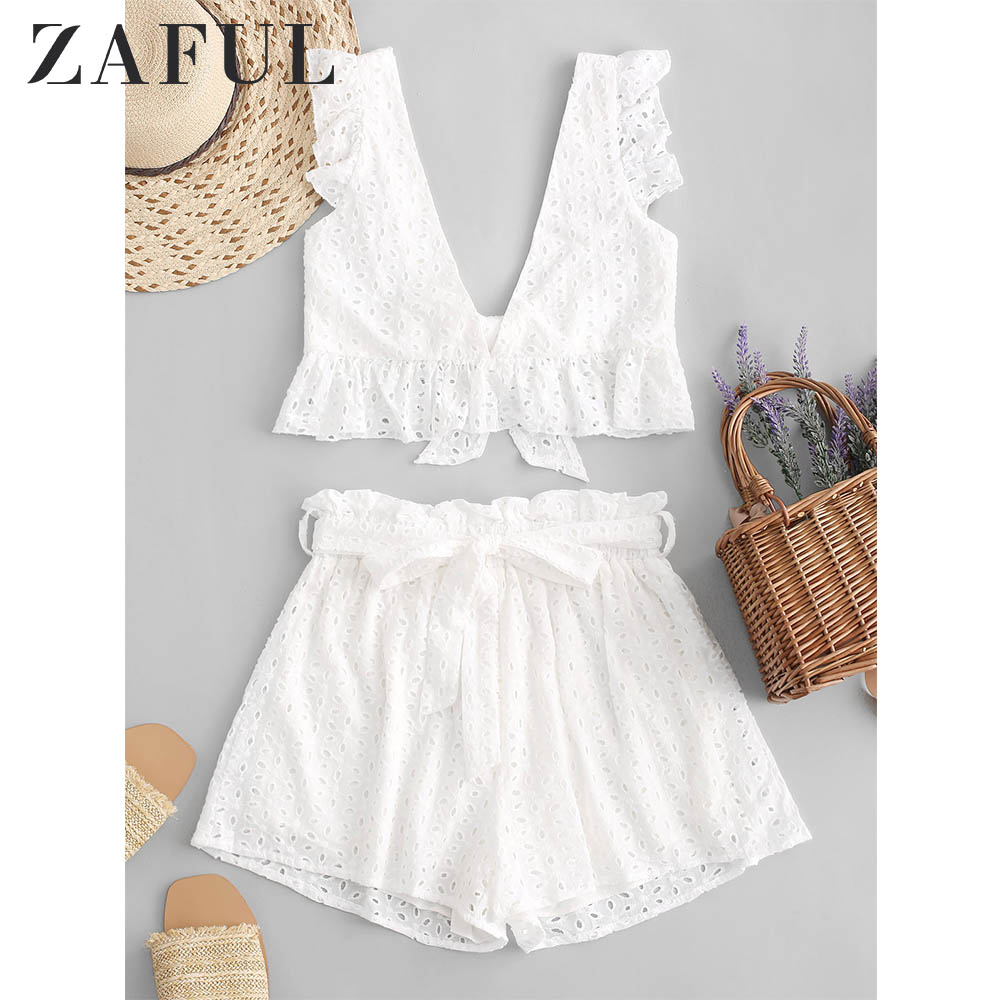ZAFUL Eyelet Plunge Belted Wide Leg Shorts Set Sleeveless Women Solid Elastic High Waist Ruffles Belted Two Pieces Sets 2019