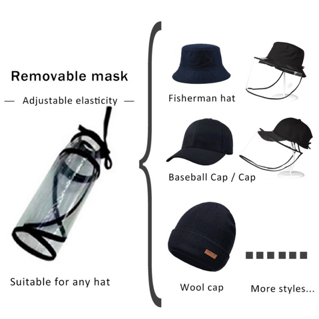 Protective Transparent Mask Anti-fog flu Coronaflu Saliva Face Masks Windproof Fisherman Hat  With Removable Protection Cap 3