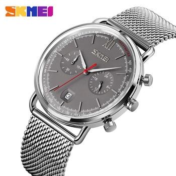 Fashion Mens Watches Skmei Brand Quartz Watch Men Stopwatch Date Wristwatch For Man Luxury Stainless Steel Waterproof Clock Male
