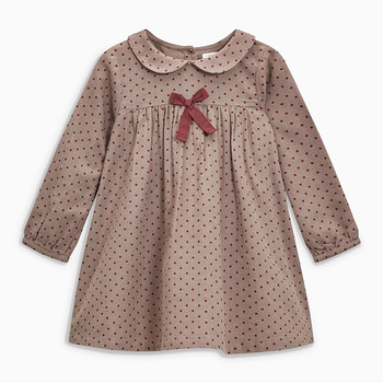 1-7 Years Baby Girl Dress Cotton Doll Collar for Kids Long-sleeved Corduroy Clothes for Toddler Girl  for Autumn and Spring 2020 - Color 2, 18M