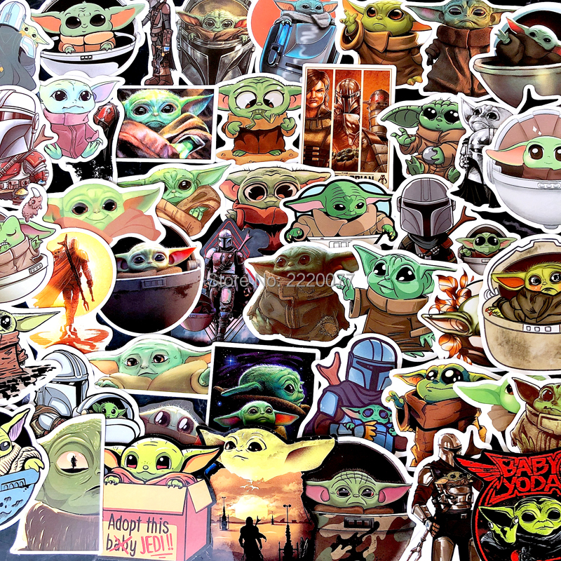 50PCS The Mandalorian Baby Yoda Stickers For Laptop Motorcycle Waterproof Vinyl Decals Stickers Kids Toys
