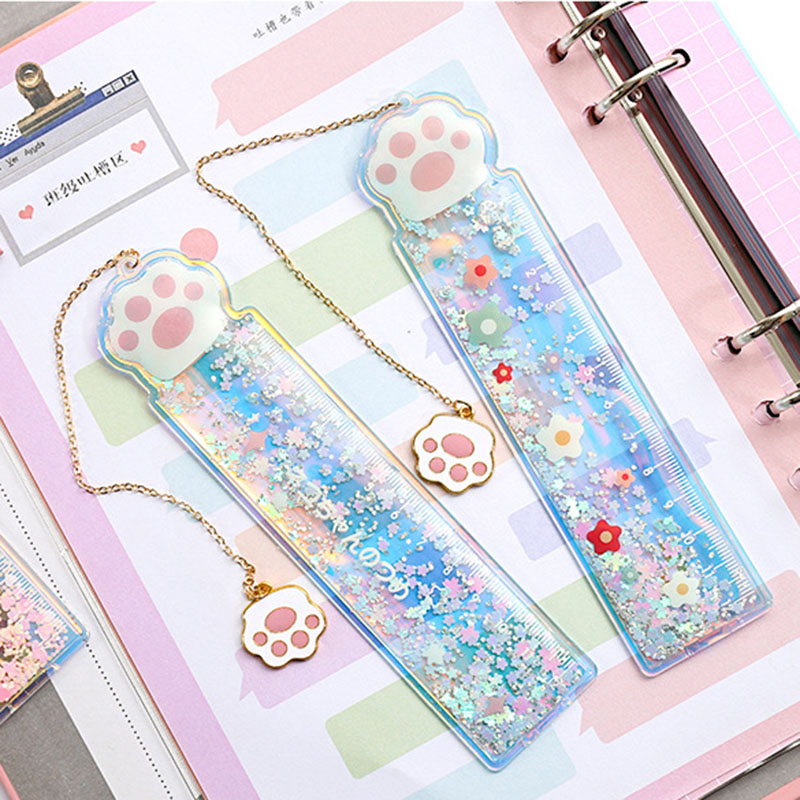 1PC Kawaii Quicksand Rulers Creative Mermaid Rulers Novelty Measure Tools For Kids Girls Gifts School Office Supplies Stationery