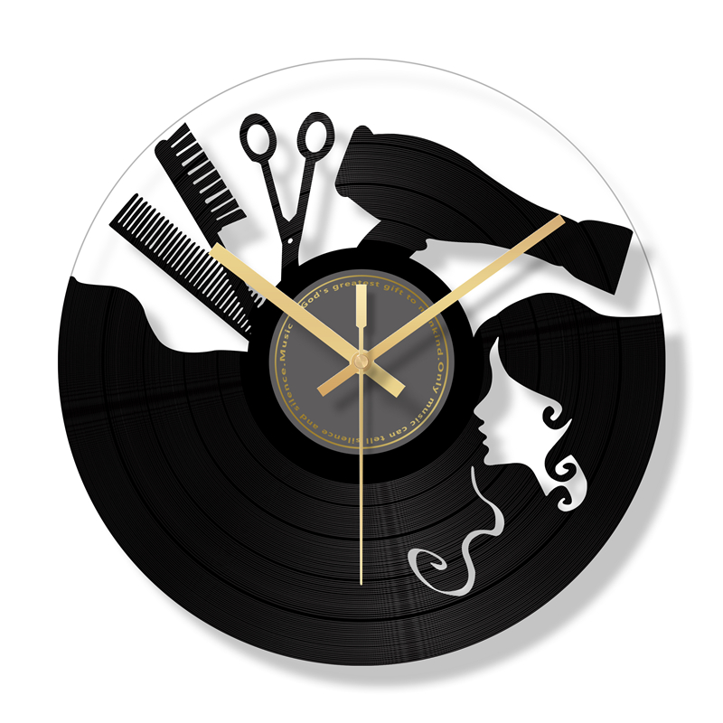 Retro Silent Wall Clock Vintage Living Room Vinyl Record Clock Creative Hair Salon Watch Hairdressing Reloj Cocina Quartz SC070