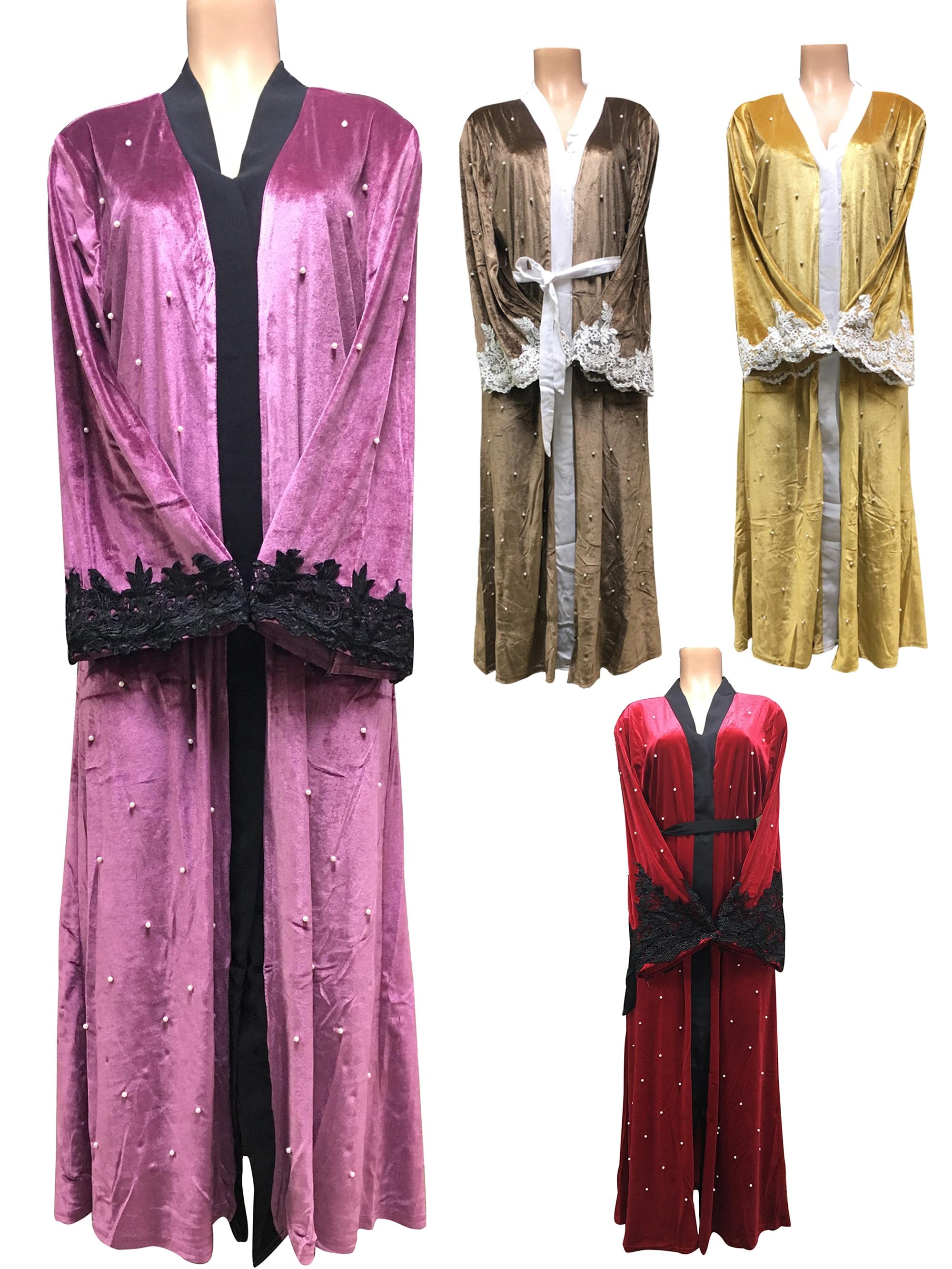 FREE SHIPPING Dubai Abaya Middle East Robe Ramadan Clothes Nail Bead Embroidery  Jibab Islamic Muslim Velvet Dress For Lady