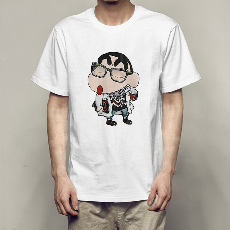 Fashion Crayon Shin Chan T Shirt Cartoon Men's Tshirt Summer Funny T-shirt Anime Printed Boy Short Sleeve Clothes Streetwear Top