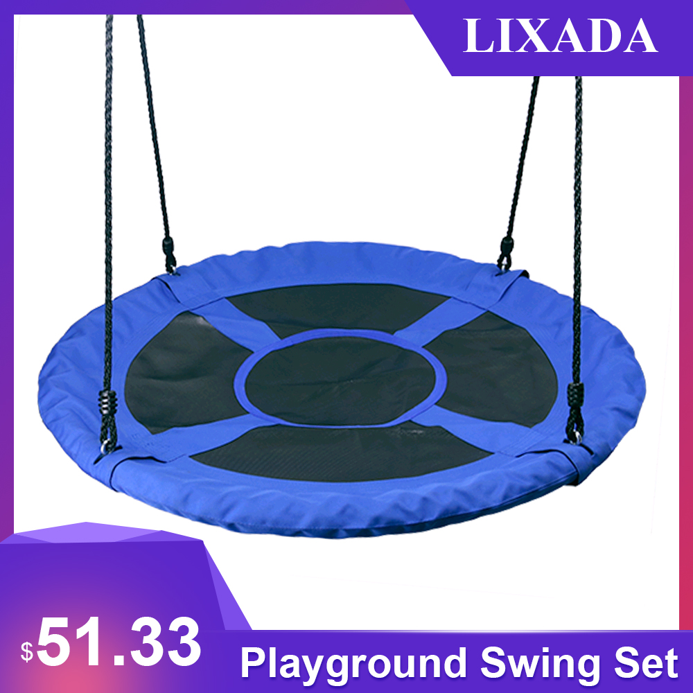 1M 40inch Outdoor Kids Playground Swing Set Saucer Rotate Tree Nest Swing 900D 600lbs Flying Rope Round Swing albercas grandes(China)