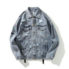 4xl Mens Denim Bomber Jackets Ripped Holes Vintage Gothic Letter Embroidery Cool Jacket Jeans Distressed Streetwear Hip Hop hooded wing embroidery distressed denim jacket