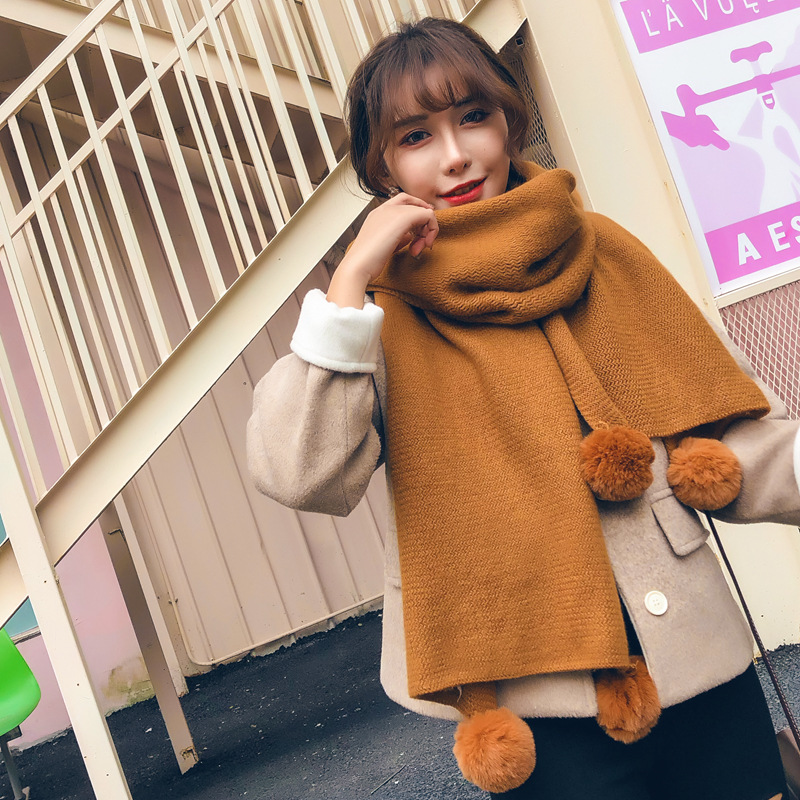 Women New Fashion Long Scarves Lady Winter Thicken Warm Soft Pashmina Shawls Wraps Pink Black Female Knitted Wool Long Scarf