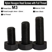 50Pcs M3 Black Nylon PA66 Hexagon Head Screws with Full Thread Hexagon Head Bolts Thread Length 4mm~25mm