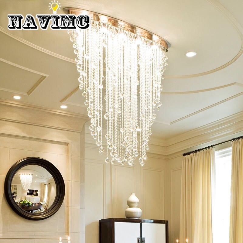 Modern Oval Design Dining Room Crystal Lamp Luxury Embedded LED Chandelier Lighting for Home Decoration